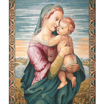 Madonna with Child by Raphael Tapestry Wall Art Hanging