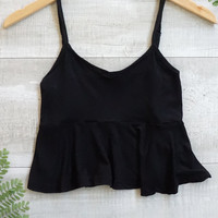 Cara Spaghetti Flowy Crop Top - Black