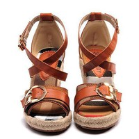 Burberry Fashion Buckle Slipsole Heels Sandals Shoes