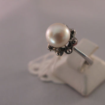 Vintage 18k White Gold 7,5 - 8mm Natural Pearl Ring - Gift for Her - Wedding - Anniversary - Birthday - Valentine's Day