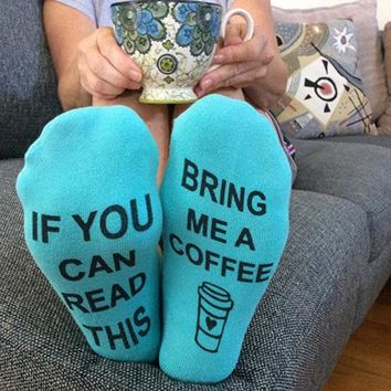 If You Can Read This Bring Me A Coffee - Give Me A Kiss - Socks Funny Crazy Cool Novelty Cute Fun Funky Colorful