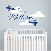 Airplane Wall Decal Name Vinyl Sticker Personalized Custom Name Biplane Clouds Decals Plane Kids Baby Name Nursery Boys Room Decor AN602