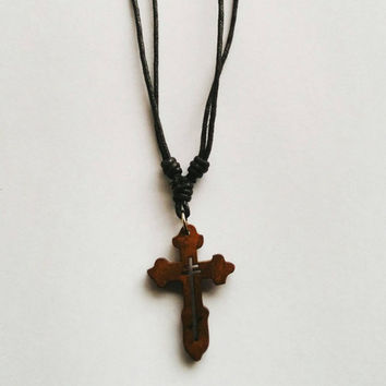 Wooden pendant cross gothic necklace