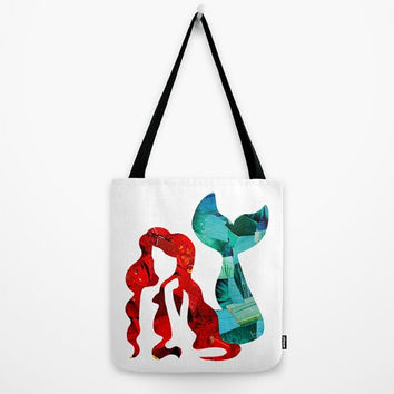 Mermaid Tote Bag, Ariel Canvas Tote Bag, The little mermaid accessories, Womens Totes, Shopping Tote, Beach Tote, Book tote, Bookbag