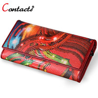 CONTACT'S Genuine Leather Women Wallets Long Brand Designer High Quality Wallet Female clutch bag large capacity Purse Money Bag