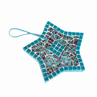 Teal Mosaic Christmas Ornament