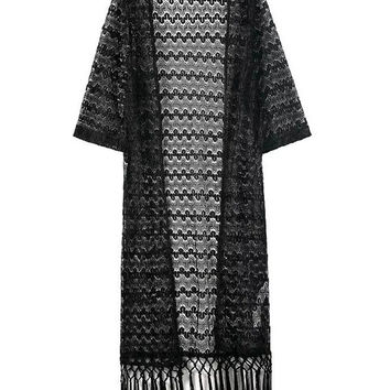 Black Fringed Lace Cardigan