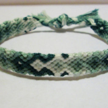 Turquoise Gradient Arrowhead Pattern Embroidery Friendship Bracelet, Ombre Friendship Bracelet