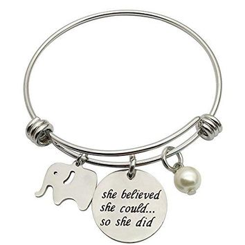 AUGUAU CAROMAY Bangle Bracelet Lucky Cute Elephant She Believed She Could So She Did inspiration Gift