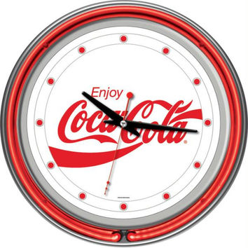 Enjoy Coke White Neon Clock - Two Neon Rings