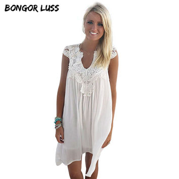 2016 Sexy Women Summer Lace Beach Boho Sleeveless Party Mini Dress Vestido De Festa Plus Size Bohemian White Chiffon Dress