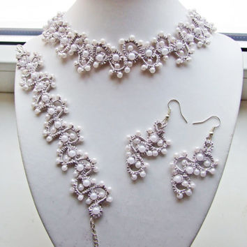 Bridal Set Crochet Tatting/ necklace, bracelet and earrings, lace jewelry