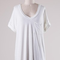Over-sized Ivory V Neck Pocket Tee