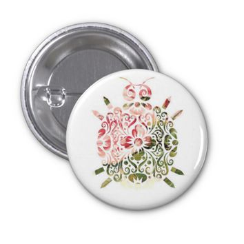 """Sweet Little Critter"" - Floral Animal Button"
