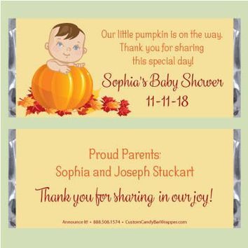 Pumpkin Baby Shower Candy Bar Wrappers