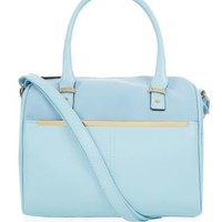 Pale Blue Metal Bar Bowler Bag