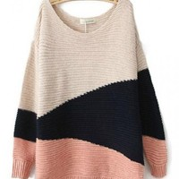 Red Black Beige Long Sleeve Geometric Asymmetrical Sweater$39
