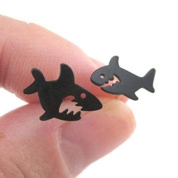 Cartoon Shark Silhouette Shaped Sea Creatures Stud Earrings in Black