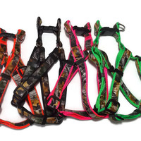 WEEKEND SALE! Real Camo on Orange, Pink, Green or Black Dog Harness