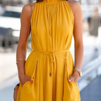CUTE YELLOW SOFT VEST DRESS