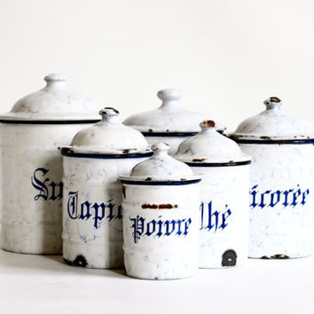 French set of 6 Enamelware Canisters - Blue and White Enamel
