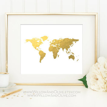 Willow Tree Faux Gold Foil Art Print From Willowandolive On