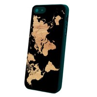 World Map on Wood Texture Print Custom Case for Iphone 5/5s