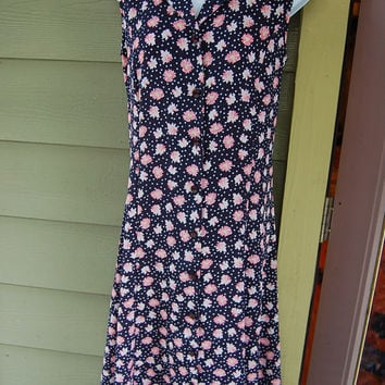 Vintage 90s Grunge Pink Daisies Sunflowers & Polka Dots Navy Long Button Front Tie Back Granny Elaine Reality Bites Dress Size 6