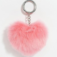 ASOS | ASOS Valentines Heart Novelty Pom Key Ring at ASOS