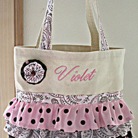 Trick or Treat Ballet Tote Purse  Child Boutique Toddler Ruffle Canvas Bag Personalized