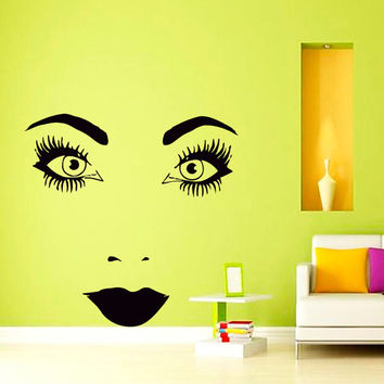Wall Decal Vinyl  Sticker  Face of Perfect Woman Beauty Saloon Art Design Room Nice Picture Decor Hall Wall Chu1194