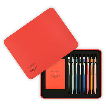 Set of Eight 849 Paul Smith x Caran d'Ache Limited Edition Artist Stripe Ballpoint Pen Collection in Presentation Case