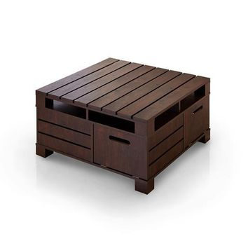 Lynam Modern Pallet Style Coffee Table in Walnut