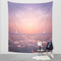 The Sun Is But A Morning Star (Geometric Sunrise) Wall Tapestry by Soaring Anchor Designs