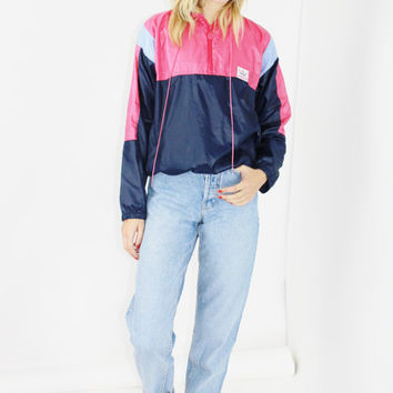 70s ADIDAS jacket pink blue wet look pullover WINDBREAKER zip up medium LARGE lrg l rare