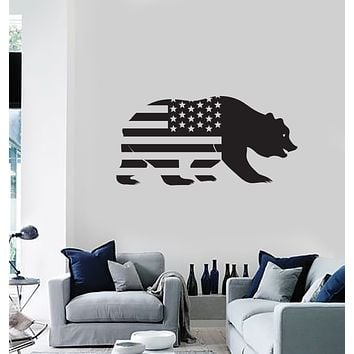 Vinyl Wall Decal California Grizzly Bear Patriotic USA Flag United States Stickers Mural (ig6102)