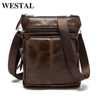 WESTAL Genuine Leather men bags male cowhide flap bag Shoulder Crossbody bags Handbags Messenger small men Leather bag M701