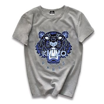Kenzo Fashion New Summer Letter Tiger Print Leisure Women Men Top T-Shirt Gray