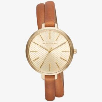 Jaryn Gold-Tone and Leather Wrap Watch | Michael Kors
