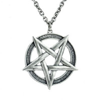 Large Inverted Woven Pentagram Necklace Aleister Crowley