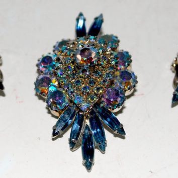 Rhinestone brooch and earrings clip on large brooch matching earrings blue rhinestones