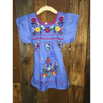 Mexican Dress for Girls Indigo