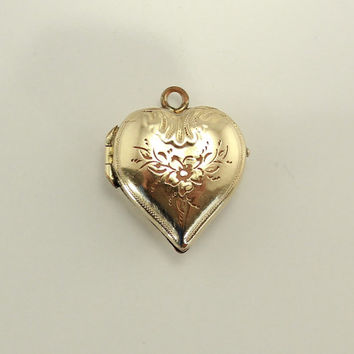 14 K Gold Plated Brass Vintage Heart Locket