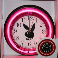 "Playboy Bunny 11"" Pink Neon Wall Clock"
