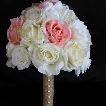 A Rustic Blush Pink and Ivory Rose Wedding Bouquet Collection