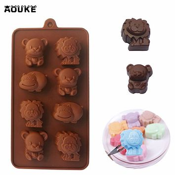 Small Animals Hippo Bear Lion 3D Chocolate Silicone Mold DIY Cake Decoration Baking Tools Candy Pastry Mould Ice Cube Soap Molds