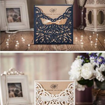 50pcs/set free envelop and free seal Elegant Floral laser Cut pocket Wedding Invitation with tie CW6179