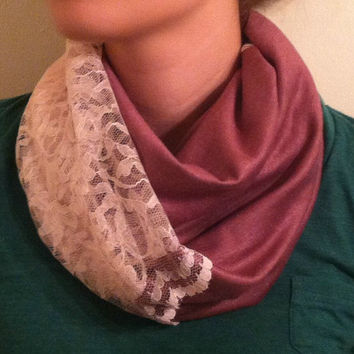 Blush Pink Lace and Knit Infinity Scarf - Free Shipping!