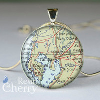 Tampa map necklace pendants,resin pendants, map photo pendants,map jewelry pendant- M0618CP