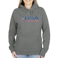 USA Field Hockey Ladies Distressed Crest Pullover Hoodie - Gunmetal